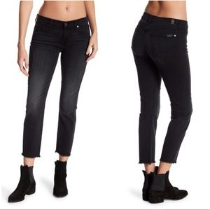 7 For All Mankind Roxanne raw hem ankle onyx 29